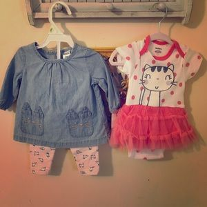 Cats and unicorns NWT Carter's outfits 0-3 months